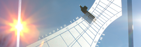 The sun blazes on an anniversary gift Spectra sundial by Jim Tallman
