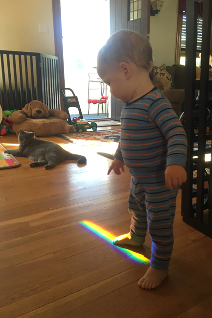 Rainbow toddler in his colorful playroom -  it's prism playtime with kitty