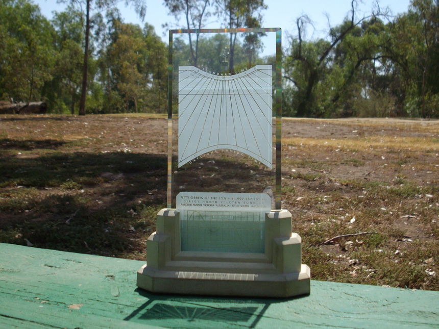 Aussie Spectra sundial on a hot February day