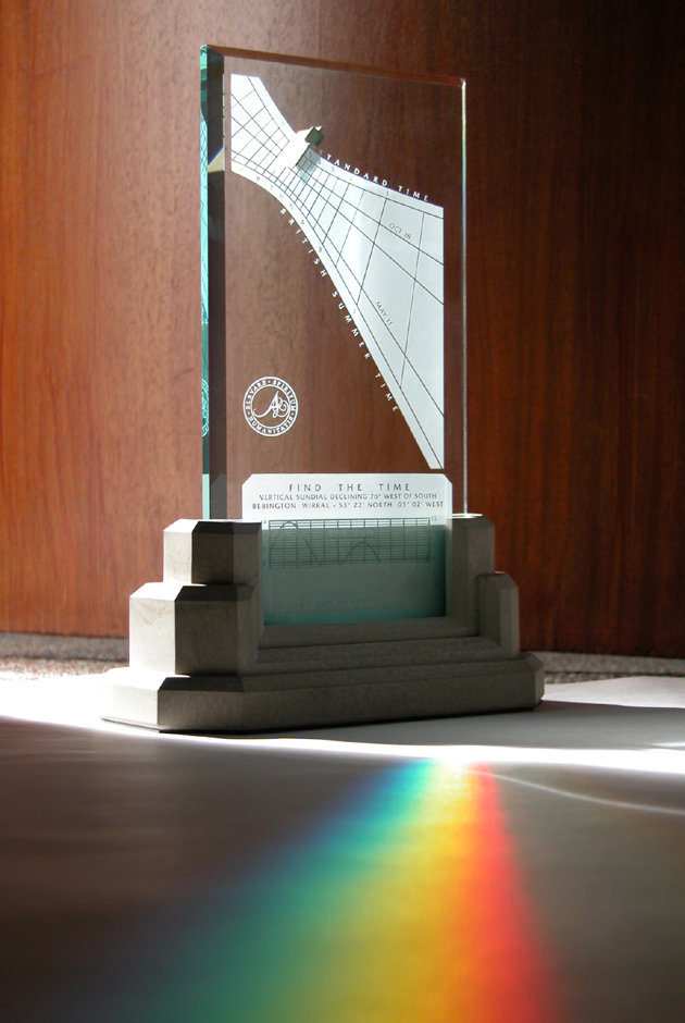 Spectra sundial making rainbow color in Bebington, Wirral, UK