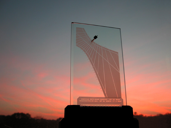 A Spectra sundial during sunset in Washington DC