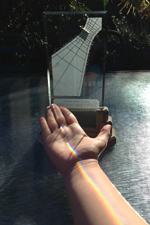 Spectra sundial kissing its owner with rainbow colors down under in Sydney Australia