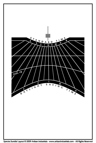 Spectra sundial layout for Bend, Oregon USA