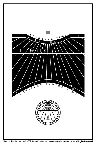 Spectra sundial layout for Brattleboro, Vermont USA