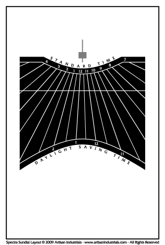 Spectra sundial layout for Brewster, Massachusetts USA