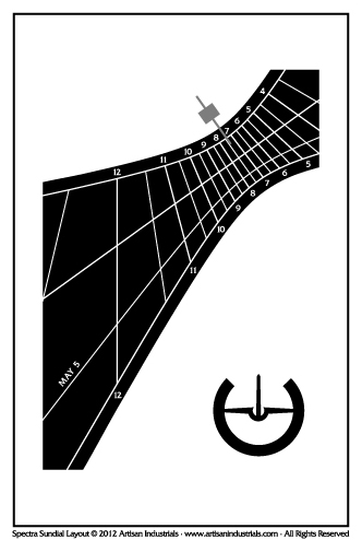 Spectra sundial layout for Faversham, Kent, England (UK)